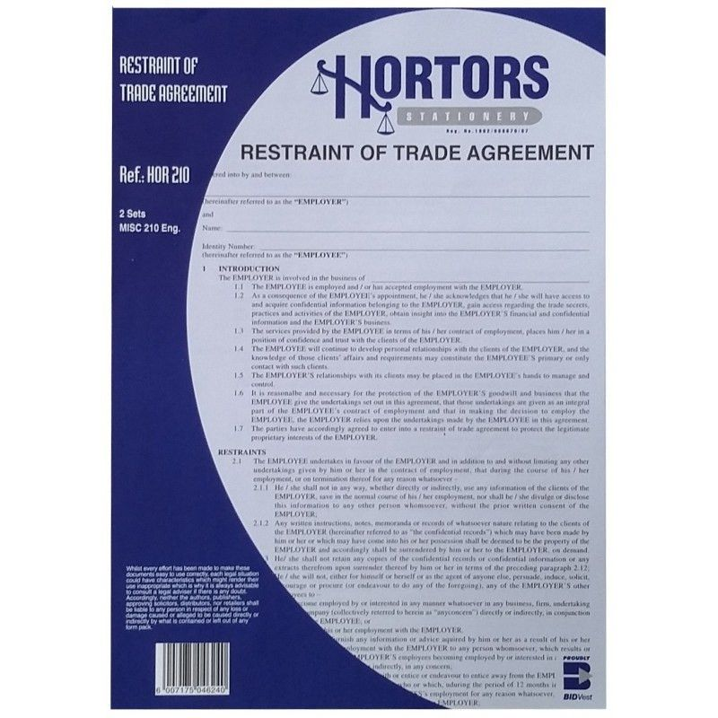 Restraint of Trade Agreement Forms - Hortors SA Diaries