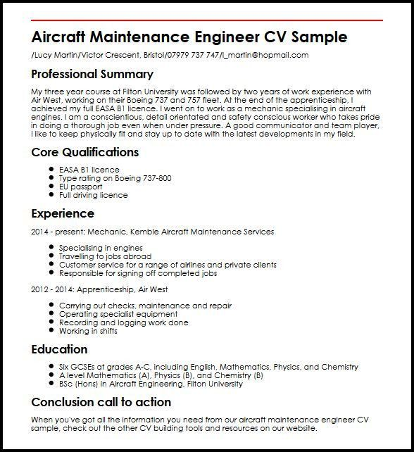 Aircraft Maintenance Engineer CV Sample | MyperfectCV