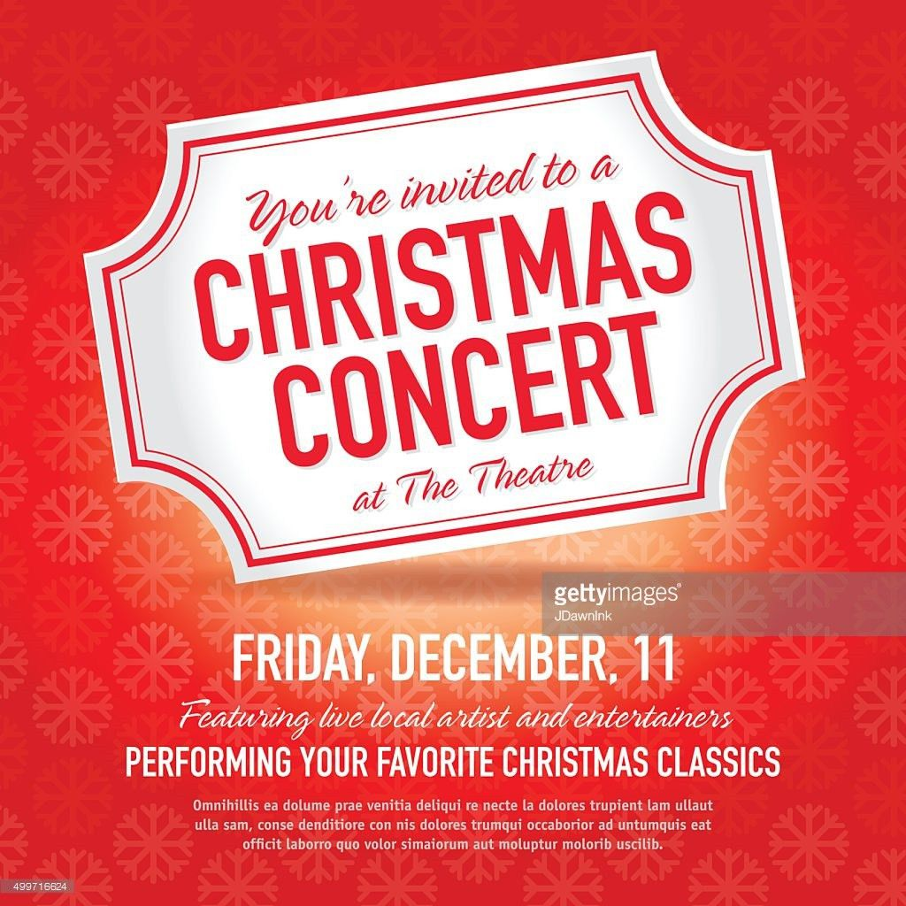 Christmas Concert Ticket Invitation Design Template Vector Art ...
