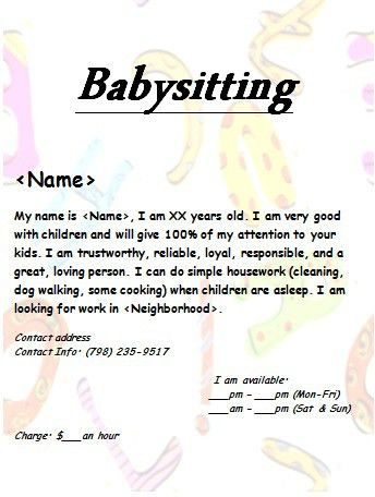 Free Babysitting Flyers: Unique Ideas, Beautiful templates and ...