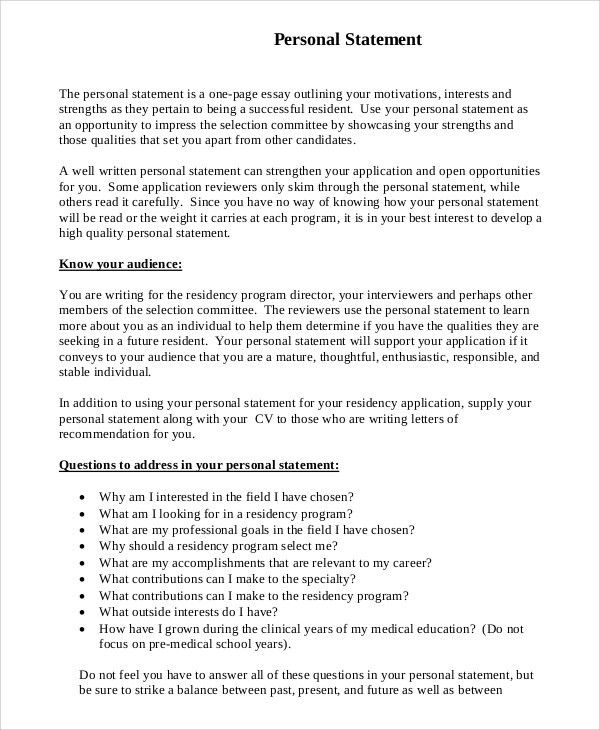 Sample Personal Statement for Medical School - 7+ Examples in PDF