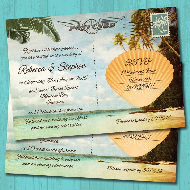 Templates Classic Postcard Wedding Invitations Wording With Navy ...