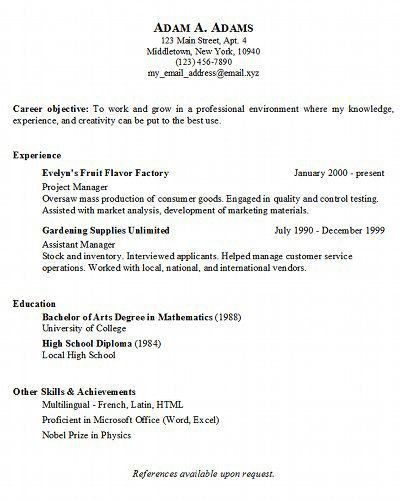 Download Sample Resume Simple | haadyaooverbayresort.com