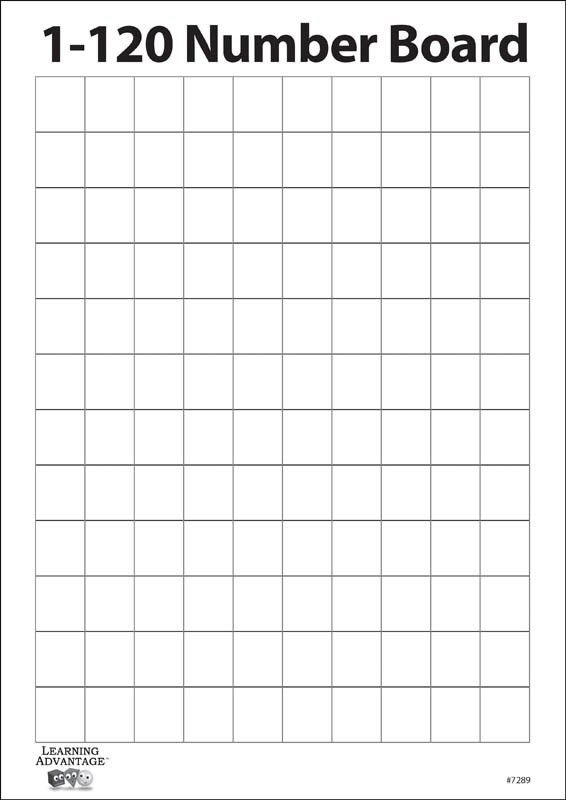 1-120 Number Two Sided Dry Erase Board with Blank Grid (040927 ...