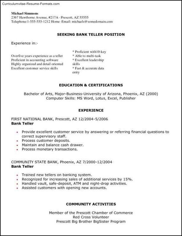 Bank Teller Resume Templates - Free Samples , Examples & Format ...