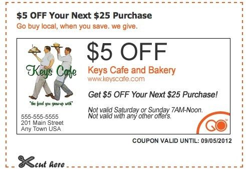 5$ OFF Coupon for Keys Cafe and Bakery! ~~~~