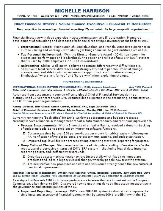 Resume Samples Chief Financial Officer CFO Non-Profit -