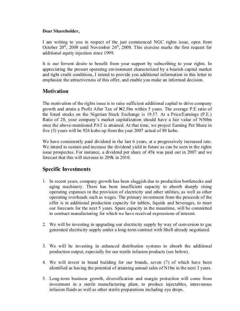 Letter to Shareholders'