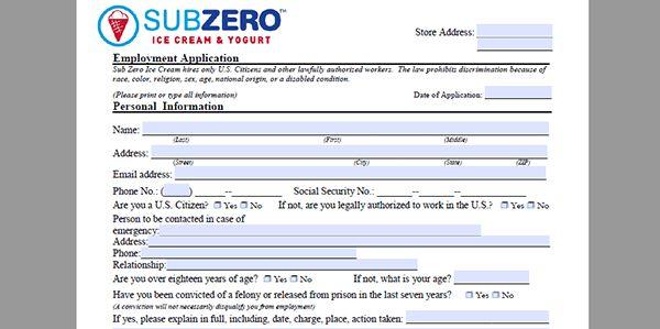 Sub Zero Ice Cream Job Application - Adobe PDF
