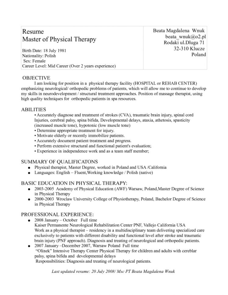 physical education resume sample page 2. adapted physical ...