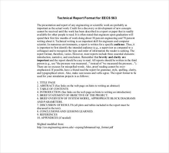 Technical Report Template – 8+ Free Word, PDF Documents Download ...