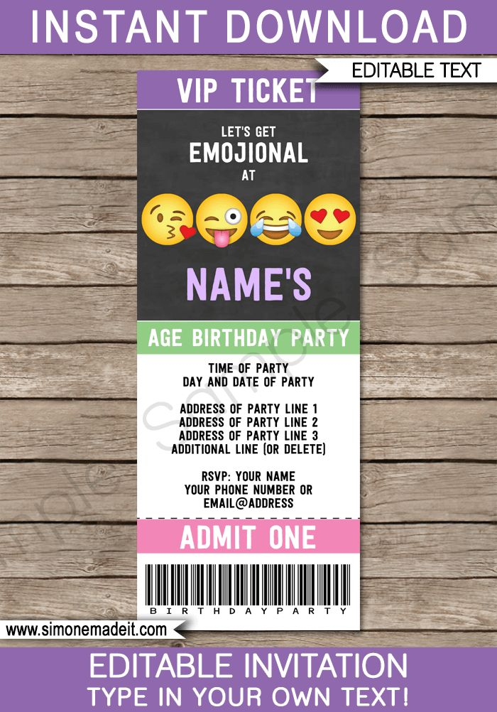 Emoji Party Ticket Invitations Template | Editable Emoji Theme Invite