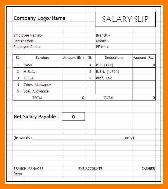 11+ simple salary slip format in excel | janitor resume