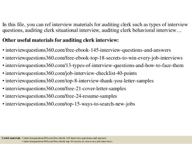 Top 10 auditing clerk interview questions and answers