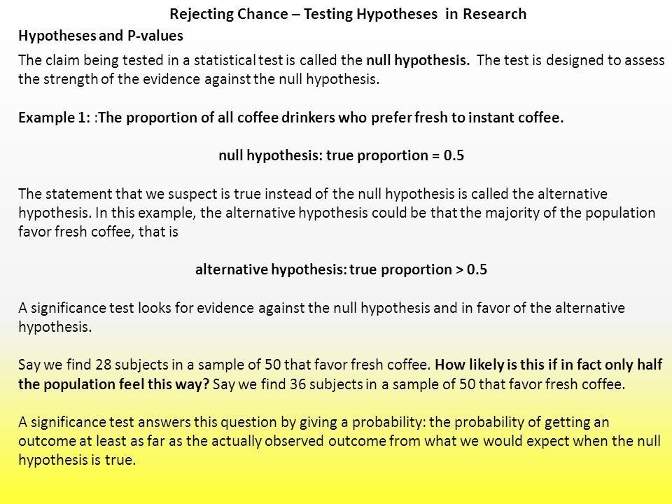 Rejecting Chance – Testing Hypotheses in Research Thought ...