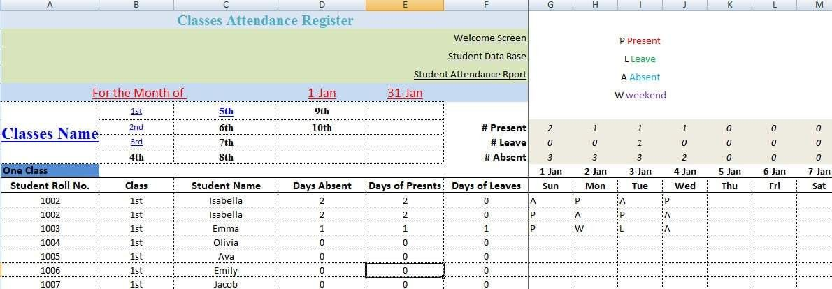 Monthly School Attendance Register and Report Template | Template124