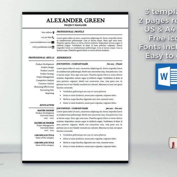 Resume Template / 1 & 2 Pages / Cover Letter Template / Modern ...