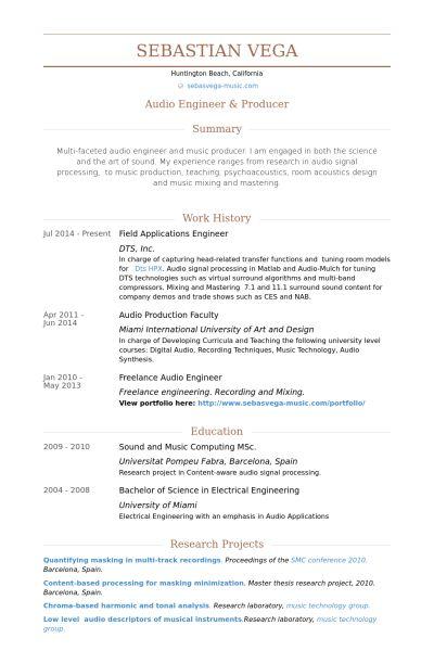 Applications Engineer Resume samples - VisualCV resume samples ...