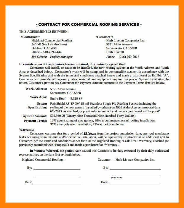 5+ roofing contract | informal letter