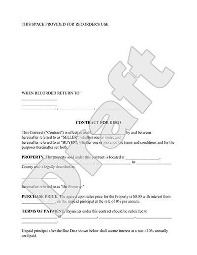 Contract for Deed Form - Land Contract Template with Sample