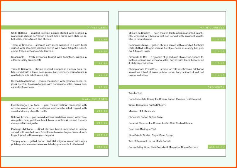 9+ restaurant menu template | Survey Template Words