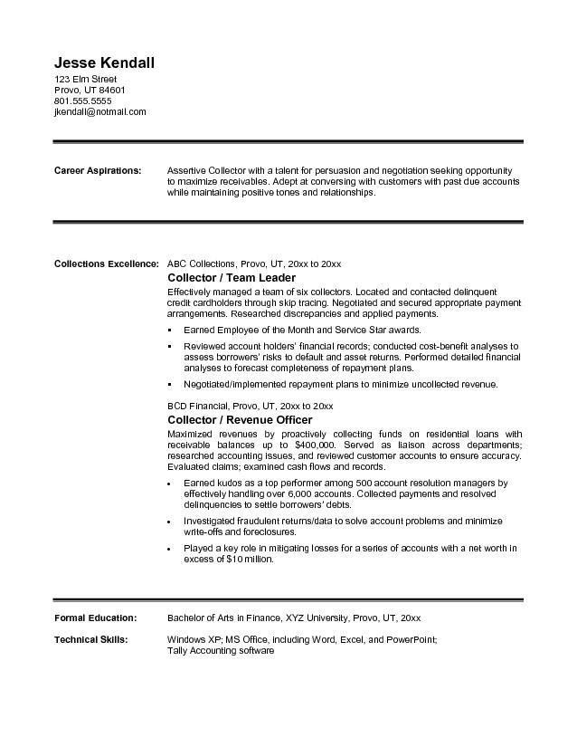 Free Collector Resume Example