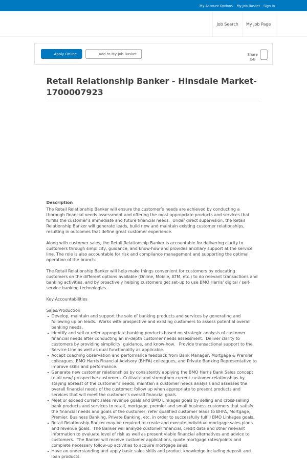 Retail Relationship Banker - Hinsdale Market job at BMO Harris ...