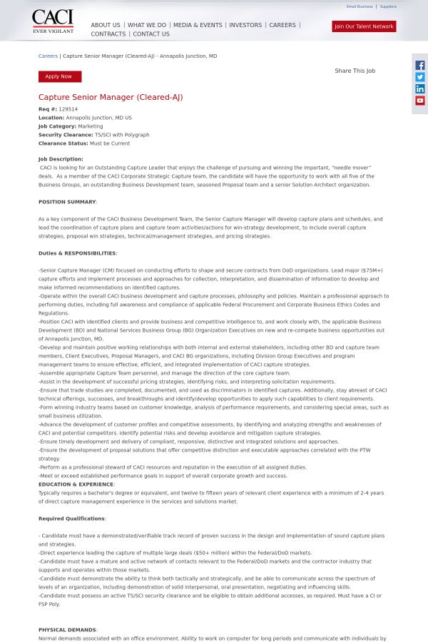 Capture Senior Manager (Cleared - AJ) job at CACI in Annapolis ...