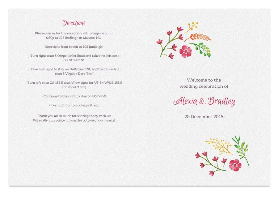 Free Printable Wedding Program Templates | tristarhomecareinc