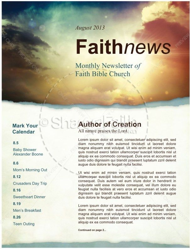 Sun Rays and Clouds Newsletter Template Template | Newsletter ...