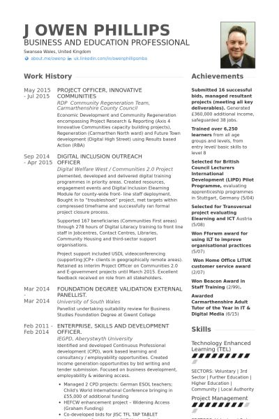 Project Officer Resume samples - VisualCV resume samples database