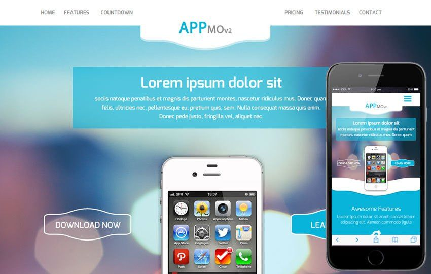 Appmo V2 a Mobile App based Flat Bootstrap Responsive Web Template ...