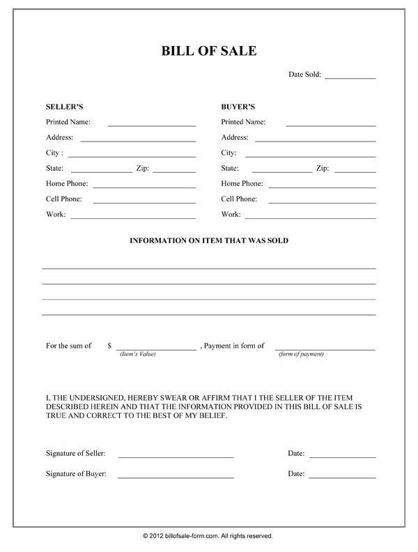 Printable Sample Bill Of Sale Form Form | Real Estate Forms ...