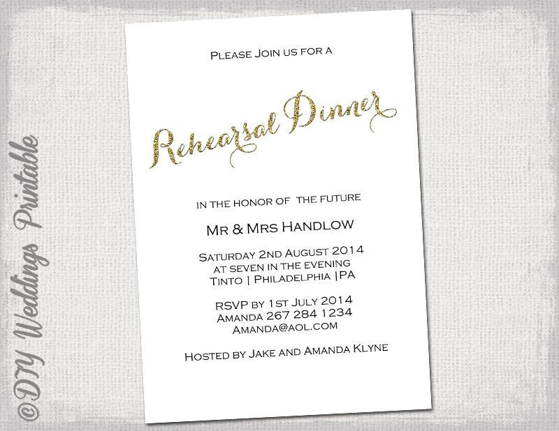 Rehearsal Dinner invitation template Gold glitter
