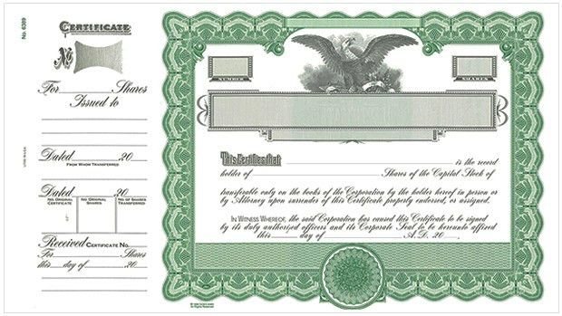 Goes Certificates, Stock Certificates, LLC Certificates, Share ...