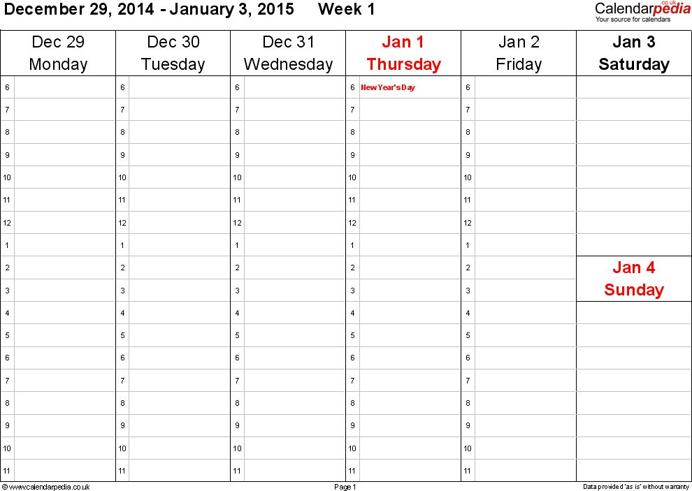 Weekly calendar 2015 UK - free printable templates for PDF