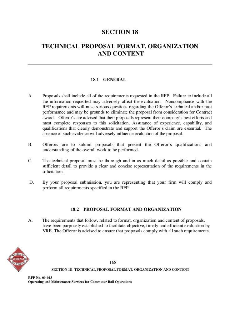 SECTION 18 TECHNICAL PROPOSAL FORMAT, ORGANIZATION AND CONTENT