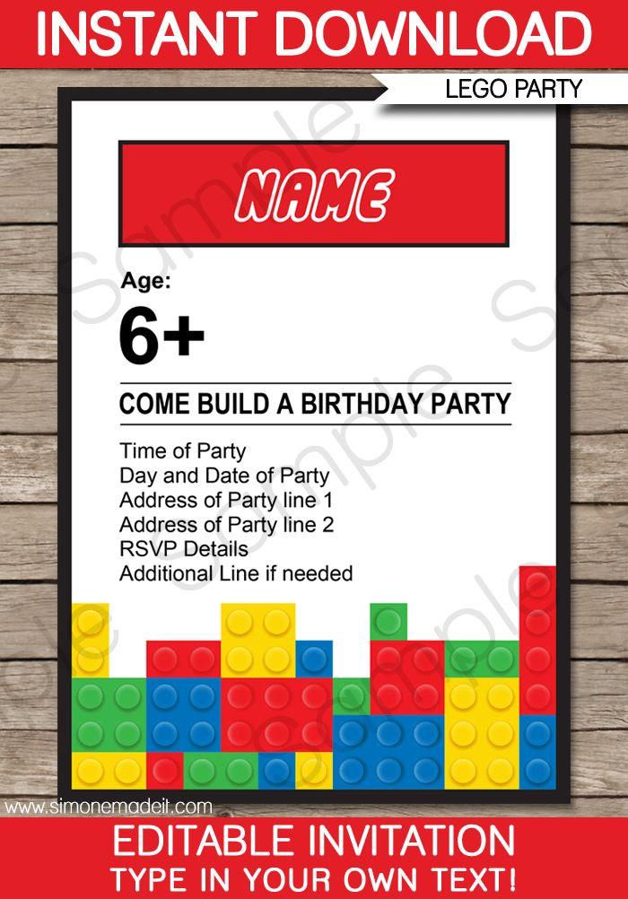 Lego Party Invitations | Lego Invitations | Birthday Party