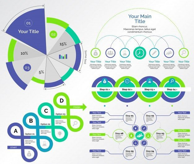 Five Research Charts Templates Set Vector | Free Download
