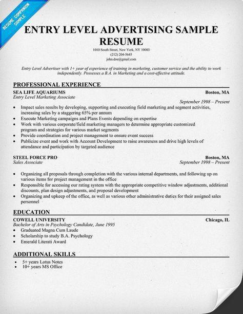 Free Entry Level Advertising Resume Example (resumecompanion.com ...
