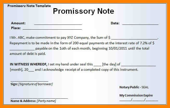4+ promissory note sample template | day care receipts