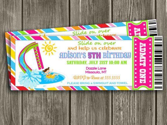 Printable Girl Pool Ticket Birthday Invitation   Pool Party ...