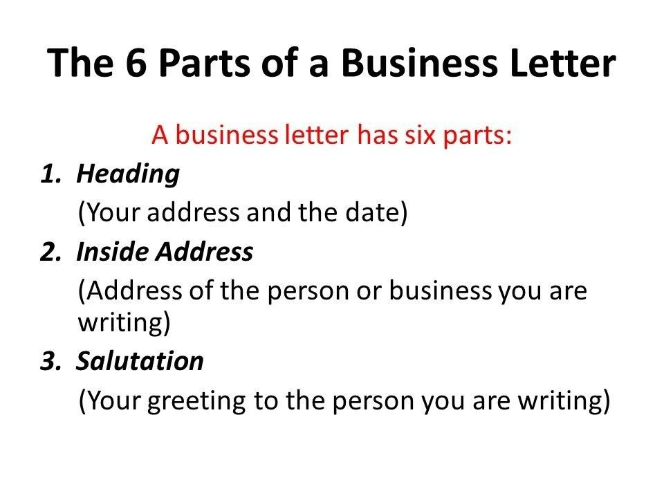6 Parts Of A Business Letter | The Best Letter Sample