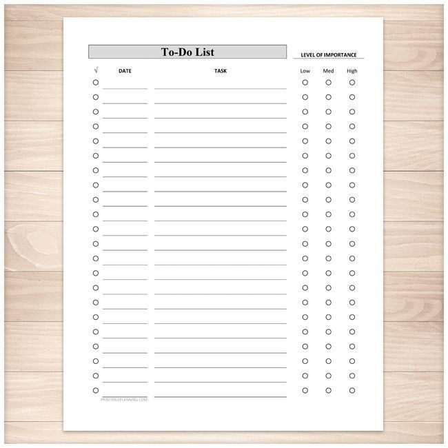 Full Page To-Do List - Level of Importance Column - Printable ...