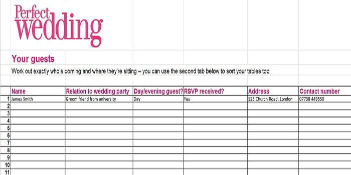 37 Free Beautiful Wedding Guest List & Itinerary Templates – Free ...