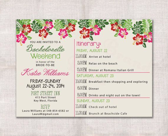 Bachelorette Party Weekend Invitation And Itinerary Custom ...