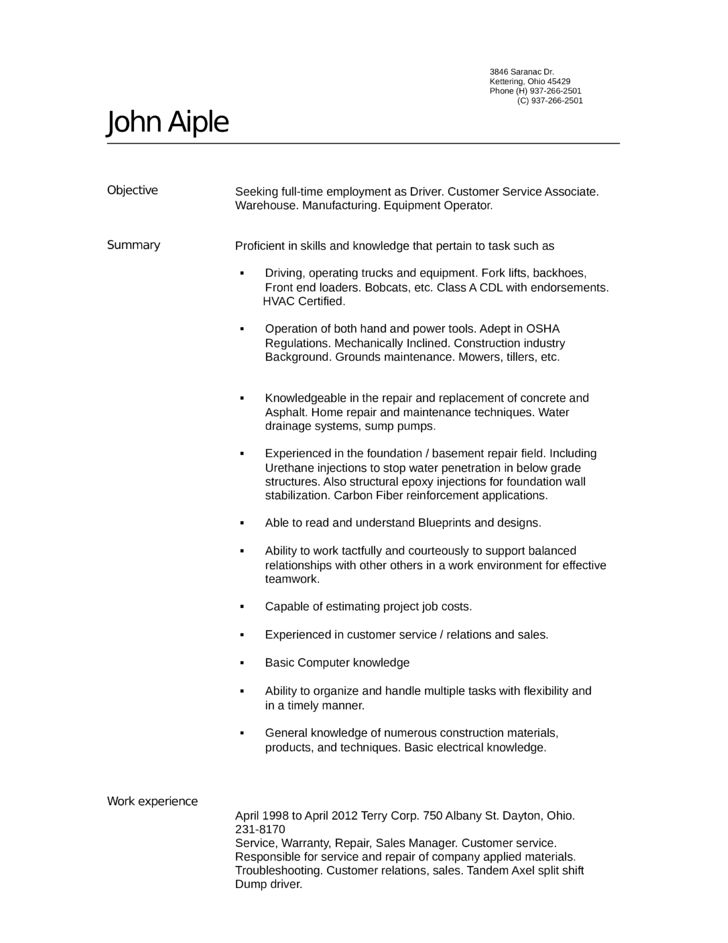 Tabular Warehouse Driver Resume Template