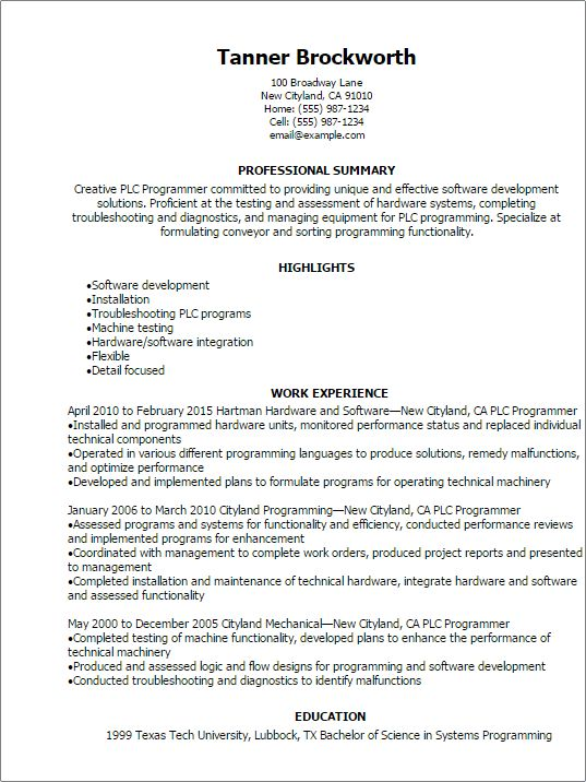 Professional Plc Programmer Resume Templates to Showcase Your ...