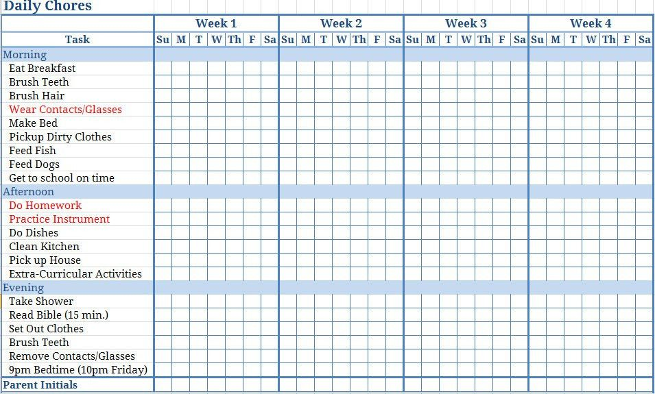 Chore Chart Templates | aplg-planetariums.org