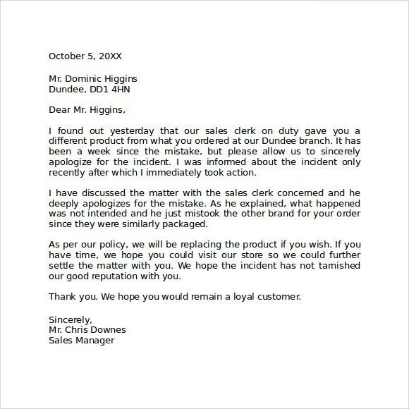 Effective Samples to Create An Apology Letter To Customer : Vatansun